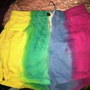 Rainbow tie die twill high waist shorts